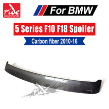 купить For BMW F10 F18 M5 Carbon Fiber Car Rear Window Roof Spoiler Wing Lip Trim 5-Series 520i 525i 528i 530i 535i 535d 550i 2010-2016 дешево