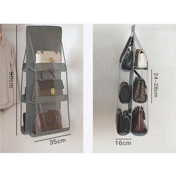 6 Pocket Foldable Hanging Bag 3 Layers Purse Handbag Organizer Folding Shelf Door 5