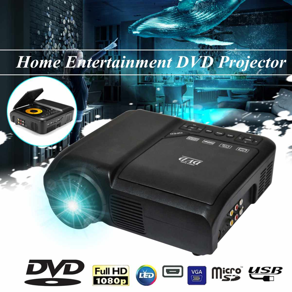 KSD-268B Home Entertainment DVD Projector LED Home Multimedia Player Support 720P and 1080PKSD-268B Home Entertainment DVD Projector LED Home Multimedia Player Support 720P and 1080P