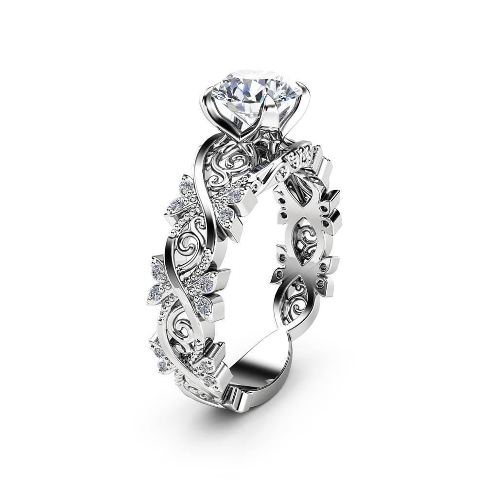 Hohl Blume 14 K Gold Diamant Ring Anillos De Intarsien Zirkon Blatt Ringe Bague Etoile Schmuck von Bizuteria für Frauen männer Ringe