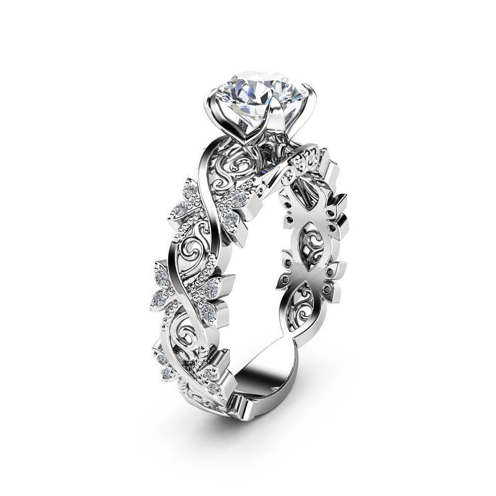 be20b9ee64f4 Hueco Flor De diamantes De oro De 14 K anillo Anillos De incrustaciones De  circonio De Anillos Bague Etoile De joyas De Bizuteria para las mujeres  hombres ...