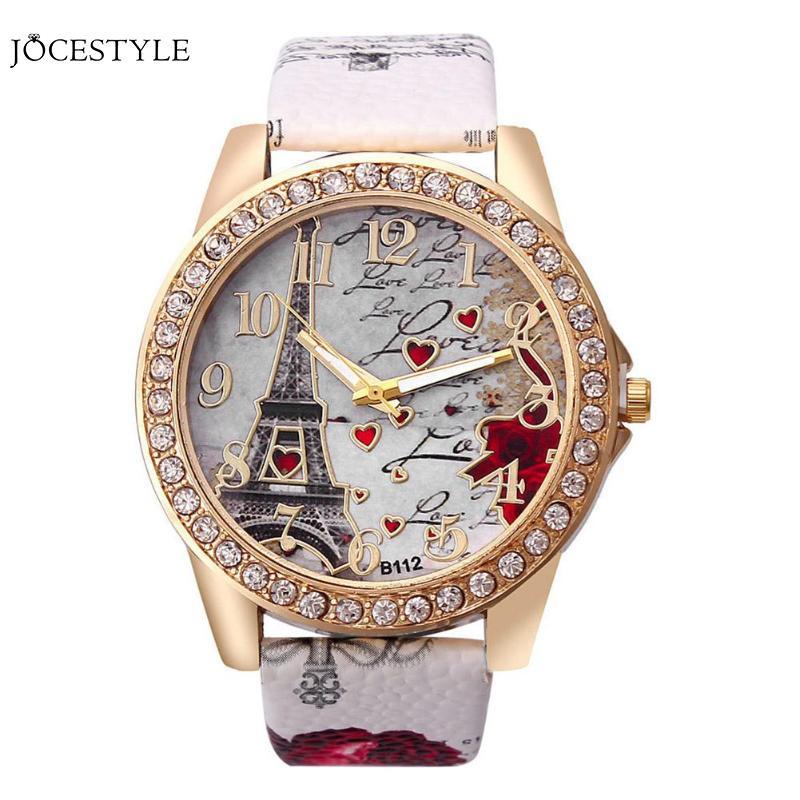 Women's Watches Diamond Insert Eiffel Tower In Paris Wrist Watch Eiffel Tower Love Leather Strap Watches Diamond Wrist Watch