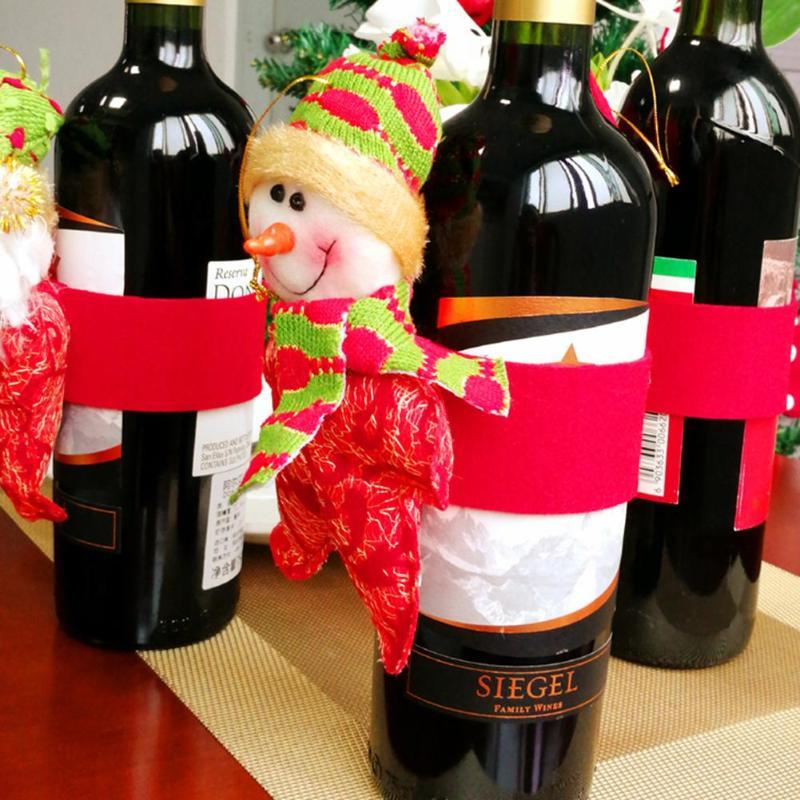 3 Stks Rode Wijn Fles Cover Kerstman Sneeuwpop Herten Kerst Xmas Decor Nieuwjaar Tafeldecoratie Kerst Ornamenten