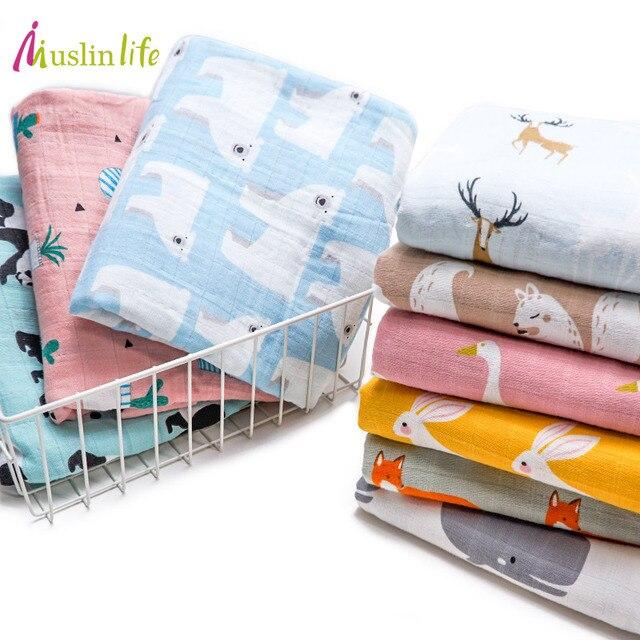Muslinlife Baby Wrap Biologisch katoen deken, Multifunctionele Mousseline Baby Pasgeborenen Deken, Baby Inbakeren Deken 120*120