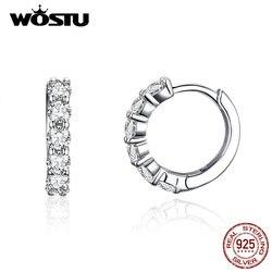 WOSTU, корейский стиль, круглые серьги-кольца, 925 пробы, серебро, прозрачный CZ, красивые серьги для женщин, свадебные модные ювелирные изделия ...