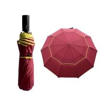 Non/Fully-Automatic Double Big Umbrella Rain Women 3 Folding Wind Resistant Large Umbrella Men Travel Business Car Umbrellas