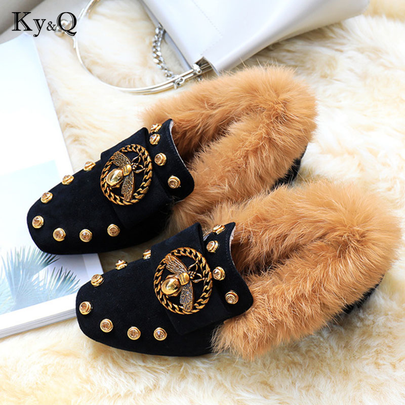 2018 Brand Designers Black Metal Flat Leather Plush Fur Slides Casual Loafers Woman Low 3cm Heels Shoes 35 40