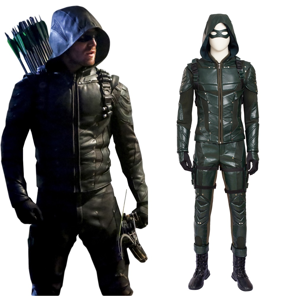 New The Arrow Season 5 Oliver Queen Arrow Cosplay Costume Halloween Outfit