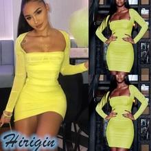 Summer Dresses 2019 NEW Summer Sexy Women Yellow Mesh Sheer Long Sleeve Square Collar High Waist Mini Dress
