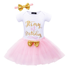 Baby girl clothes set Newborn 1st Birthday party Ball Gown Cotton Romper Lace tutu skirt bowknot headband 3pcs Clothing