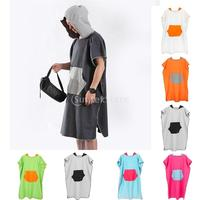 Unisex Mens Womens Kids Surf Beach Hooded Poncho Wetsuit Changing Robe Towel with Pocket, Mesh Carry Shoulder Bag 7 Colors