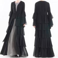 Kaftan Cascading Ruffle Pleated Chiffon Dress Kimono Muslim Cardigan Elegant Women Dubai Turkish Clothing
