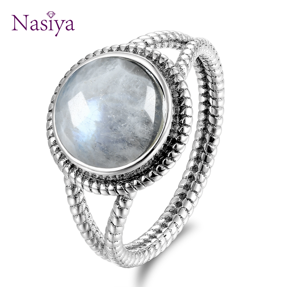Real 925 Sterling Silver Rings With 10MM Round Natural Moonstones Women's Wedding Party Anniversary Fine Jewelry Ring Wholesale