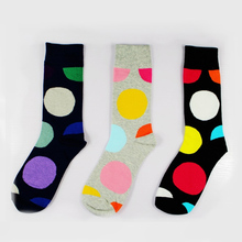 YJSFG HOUSE 1 Pair High Quality Socks Cotton Mens Mid Tube Fashion Big Dot Funny Print Crew Sock Comfortable Trend