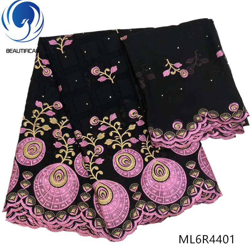 BEAUTIFICAL african lace fabrics High quality cotton nigerian swiss lace fabrics 7yards black lace mix pink embroidery ML6R44BEAUTIFICAL african lace fabrics High quality cotton nigerian swiss lace fabrics 7yards black lace mix pink embroidery ML6R44