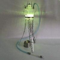 Красивый светодиодный батарея стекло один/двойные трубы 304 нержавеющий металл стенд Чичи Курительные принадлежности синий трубы Медузе ка