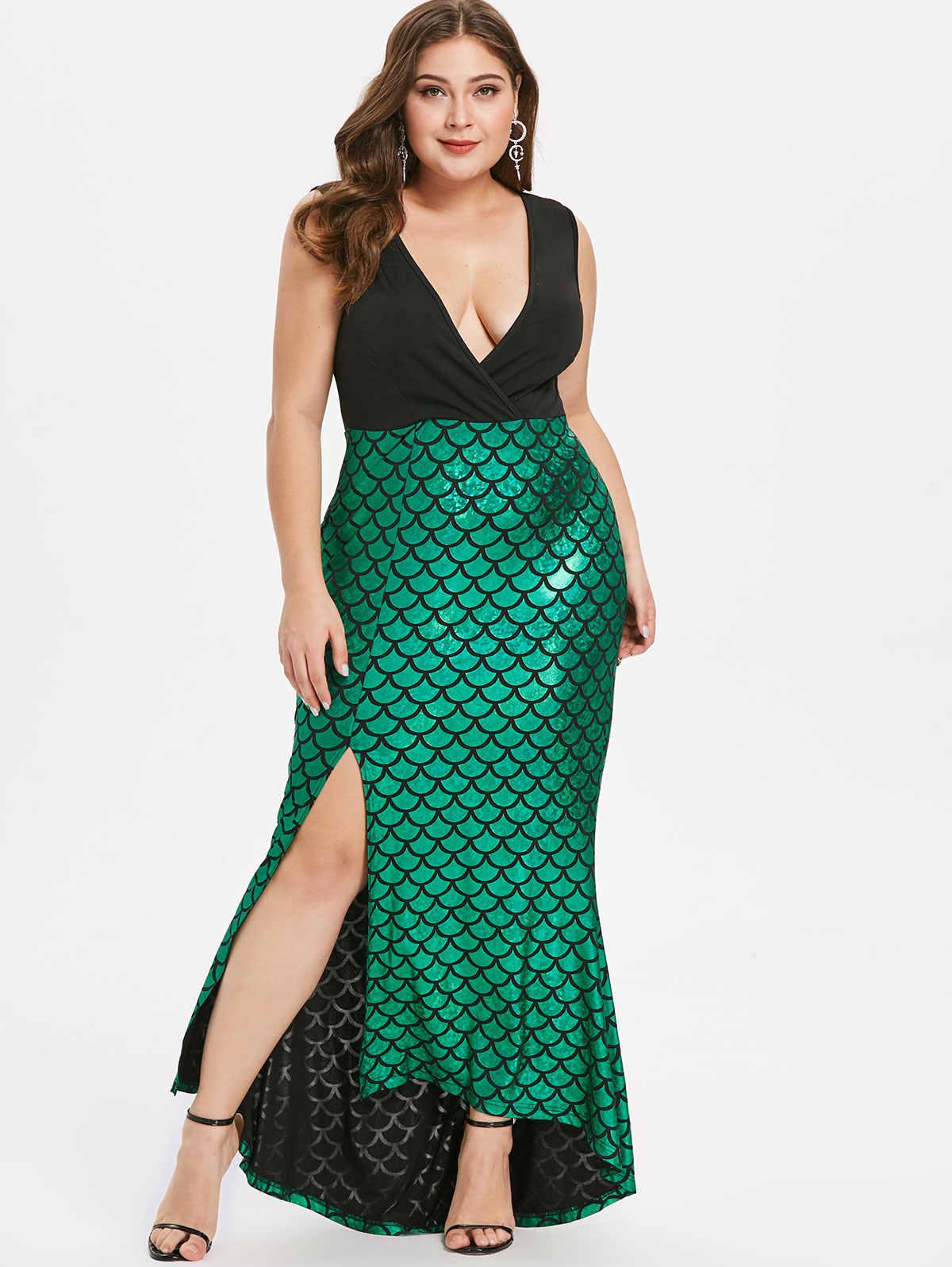 b6b91fcb55ac Kenancy Women Sexy Deep V-Neck Sleeveless Patchwork Maxi Dress Fish Scale  Asymmetric Split Mermaid