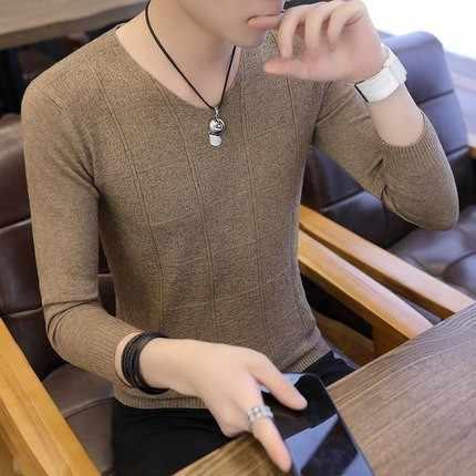 2019 신사복 섹시한 v 넥 스웨터 풀오버 남성 솔리드 컬러 슬림 피트 스웨터 탑 남성 니트 풀오버 M-3XL