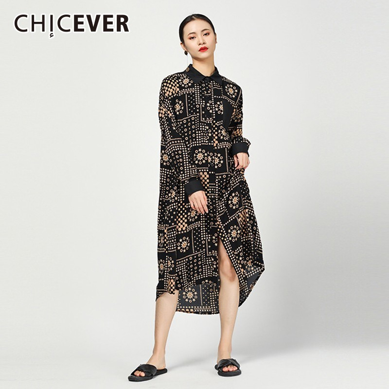 CHICEVER 2019 Spring Print Women's Dresses Lapel Long Sleeve Loose Oversize Asymmetric Hem Vintage Dress Female Fashion Clothing-in Dresses from Women's Clothing    1