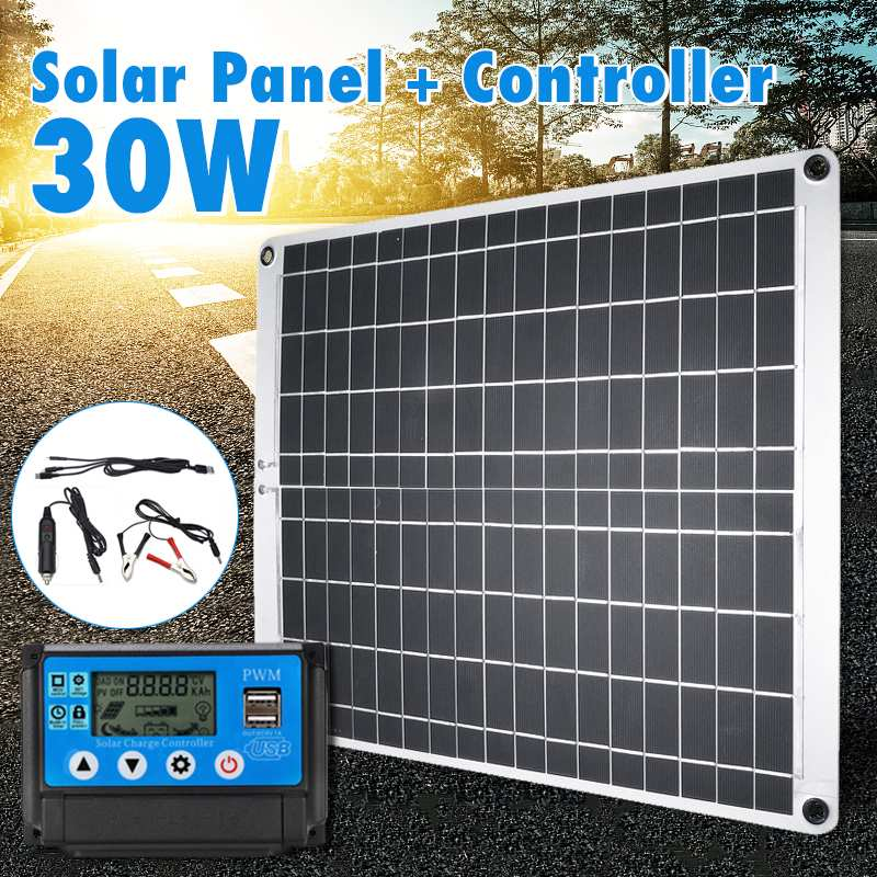 30W USB Solar Panel Monocrystalline Solar Panel with Car Charger 10 20 30 40 50A Controller