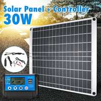 30W USB Solar Panel Monocrystalline Solar Panel with Car Charger +10/20/30/40/50A Controller for Outdoor Camping Emergency Light