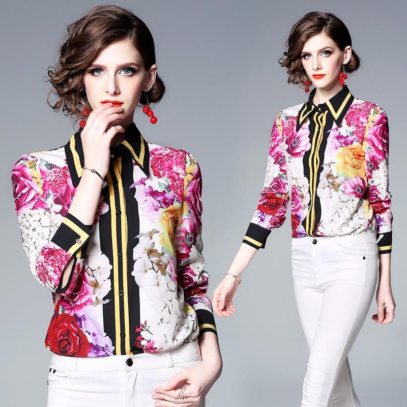 Womens Tops   Blouses   2019 Spring New Runway Designer Long Sleeve flower Ladies   Blouses     Shirts   Print Vintage Office   Shirt