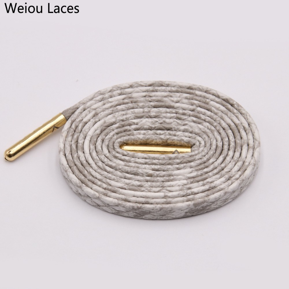 Shoelaces with Gold Metal Aglet Tip Hiking Sport Sneakers Shoe Strings White