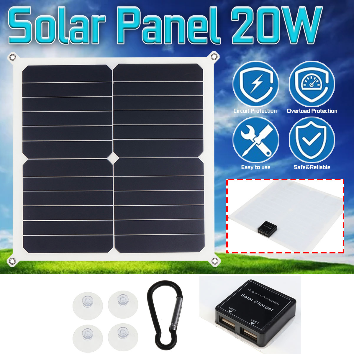 20W Portable Solar Panel Plate 18/12/5V Double USB Output Solar Cells Solar Charger For Car Battery Cell Phone Chargers image