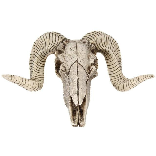 Creative 3D Horns Skull Ornament Resin Skull Retro Wall Hanging Crafts Home Office Decor Gift Animal Skull 1