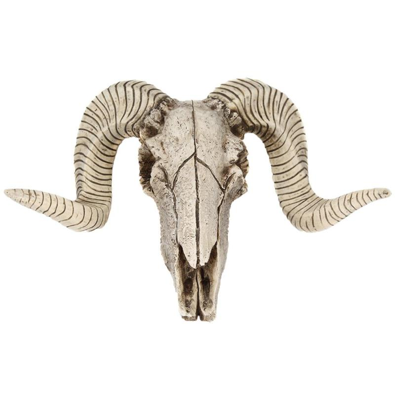 Creative 3D Horns Skull Ornament Resin Skull Retro Wall Hanging Crafts Home Office Decor Gift Animal Skull