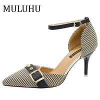 MULUHU 2019 Woman Thin High Heel Shoes Pointed Toe Buckle Strap Dress Shoes Spring Casual Party Shoes Slingbacks Dropshipping