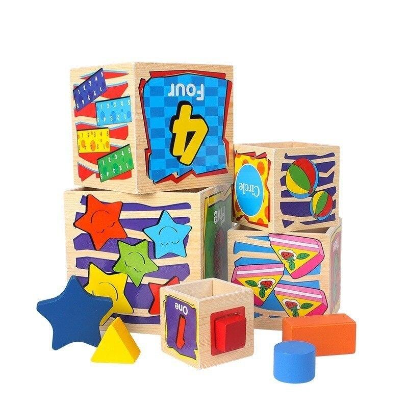 Enfants jouets en bois 5 boîte coloré créatif géométrique assemblage blocs début apprendre des jouets éducatifs pour la maternelle