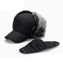 Winter Bomber Hats Russia Cap With Face Mask Men Thick Plus Fleece Warm Fur  Earflap Hat 7a39f70906bb