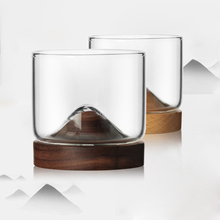 Creative Whiskey Glass Small Japanese Style Household Mountain Wooden Bottom Wine For home Bar shop