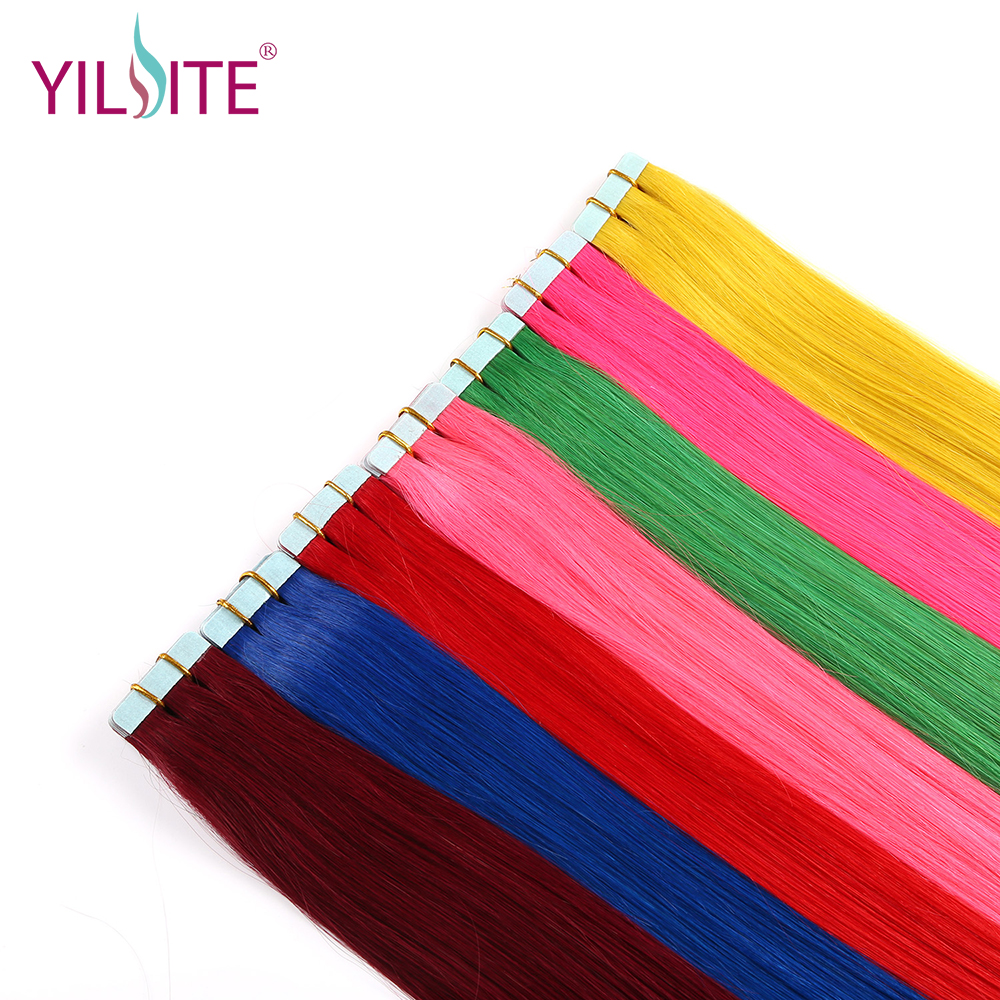 Yilite 20inch 100% Russian Non-remy Human Tape In Hair Extensions Fancy Color 5pcs/lot Silky Straight Tape Hair Extensions