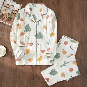 Image 2 - 100% Cotton Gauze Thin Maternity Wear Women Pajamas Set Loose Breastfeeding Clothing Cartoon Sleepwear Autumn Plus Size Pajamas