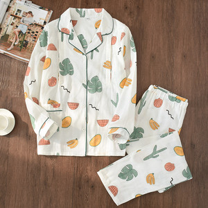 Image 2 - 100% Garza di Cotone Sottile Maternità Usura Delle Donne Pajamas Set Allentato Allattamento Al Seno Vestiti Del Fumetto Degli Indumenti Da Notte di Autunno Più Il Formato Pigiama
