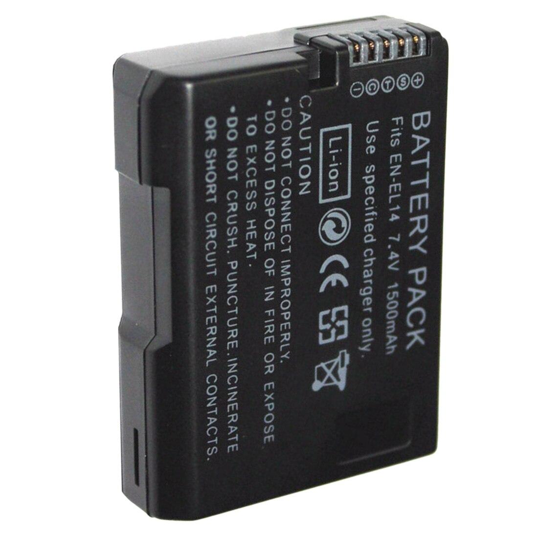 1 pièces 7.4V 1500mAh EN-EL14 Batteries ENEL14 EN EL14 Batterie pour Appareil Photo Noir Pour Nikon MH-24 D5200 D3100 D3200 D5100 P7000 P7100