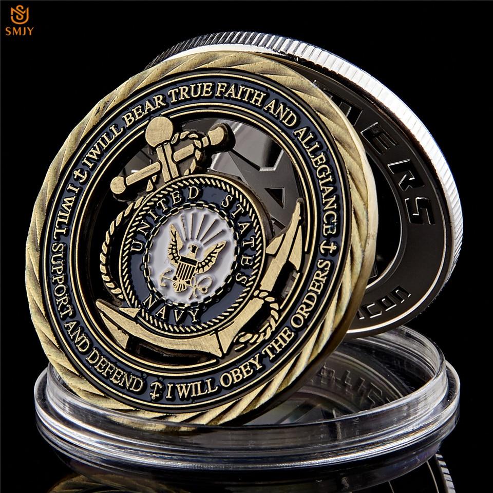 US Navy Emblem Core Value Bronze Hollow Military Challenge Medal Commitment Coin emblem