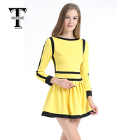 dress women dress Russian holiday independence day yellow and black models thick warm comfortable and soft high end