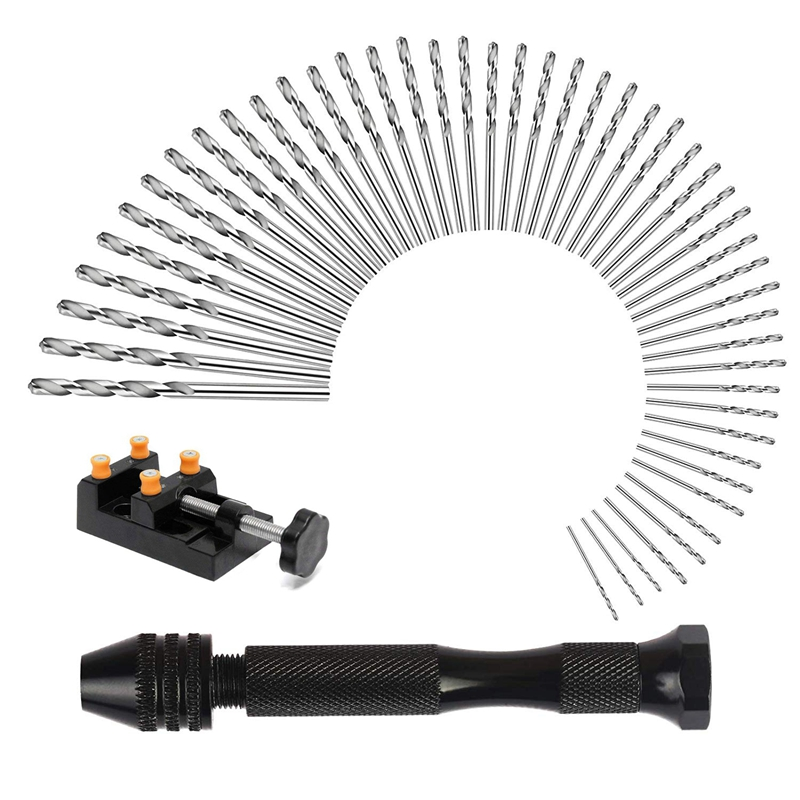 50 Pcs Pin Drill Set Universal Multiple Size Pin Vice With A Mini Carving Clamp For Craft Carving Diy Woodworking Jewelry