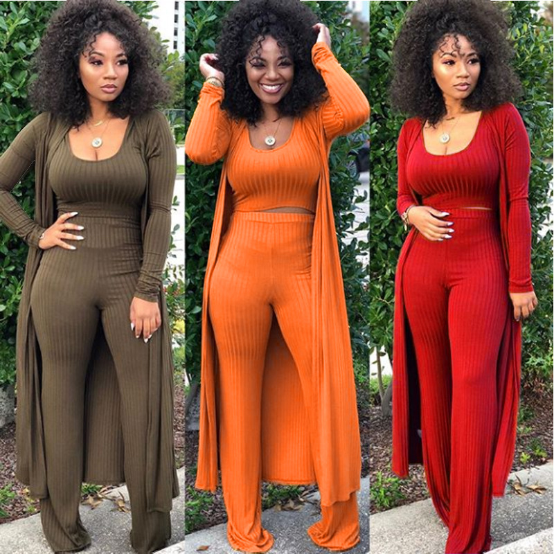 3 PIECE SET Women Tank Top X Long Sleeve Cardigan Coat Cloak Outfit Elegant Strech Three PIECE Leisure Suits Rib Knit Palazzo