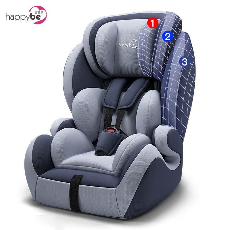 Happybe детское автокресло безопасности для 9 месяцев 12 лет с Мягкий соединитель ISOFIX и защелкой вперед лицом универсальные автокресла