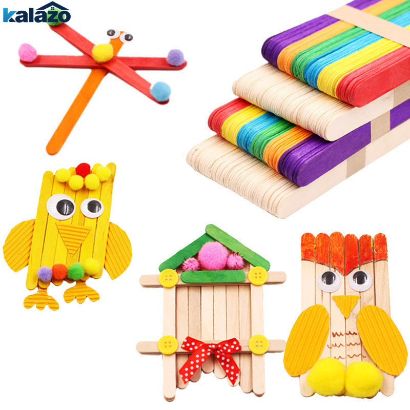 50Pcs/Lot Colored Natural Wood Popsicle Ice Cream Sticks DIY Craft Supplies Lolly Pack Cake Making Sticks Holder Party Decor