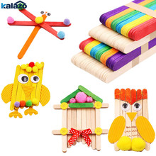 8e41178494 50Pcs/Lot Colored Natural Wood Popsicle Ice Cream Sticks DIY Craft Supplies  Lolly Pack Cake