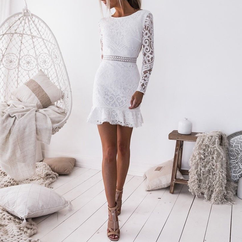 Spring Women Lace Dress Sexy Backless Party Dresses Fashion Long Hollow Out Ruffle White Dress Elegant Wedding Party Vestidos