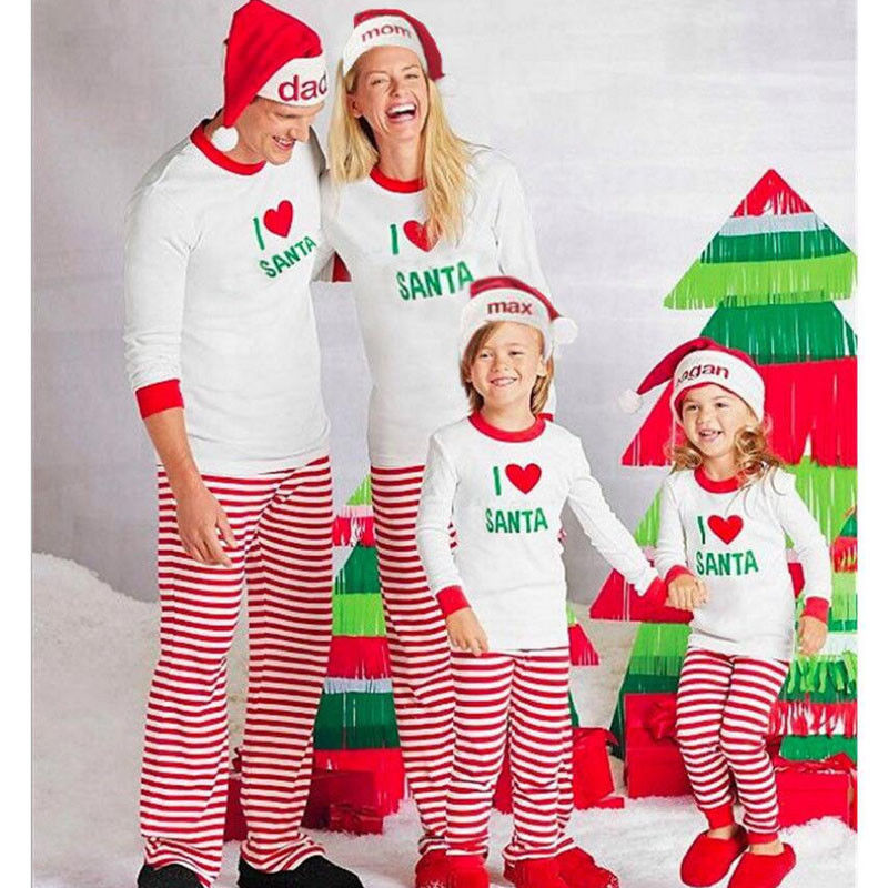 Christmas Pjs T-Shirt Sleepwear Striped-Pants Family Matching Kids Adult 2pcs