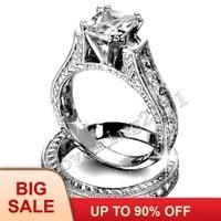 Модные украшения под старину 2ct Принцесса cut 5A камень циркон 14KT Белое золото заполнено 2 в 1 Обручение обручальное кольцо набор Размеры 5 11