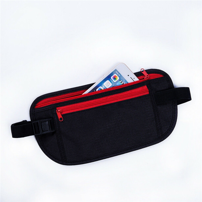 Black Travel Waist Pouch For Passport Money Belt Bag Hidden Security Wallet NEW Anti-theft Stealth Paquete De La Cintura Bag