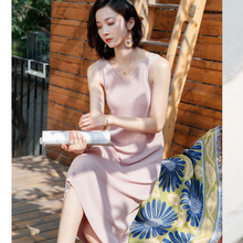 Spring and summer new elegant temperament casual fashion French style waist slim Sleeveless dress womens I6259